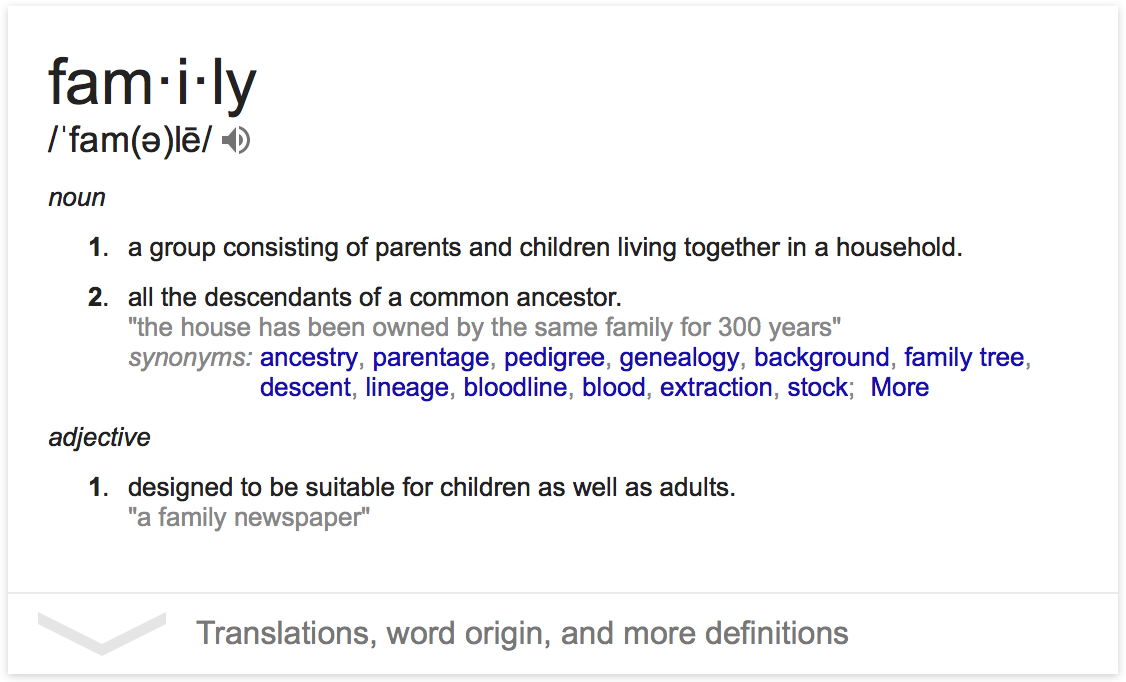 definition of a family Saller, richard, slavery and the roman family, in finley, moses i, ed, classical slavery (london:  (n class, plural familia) family (taxonomy) family.