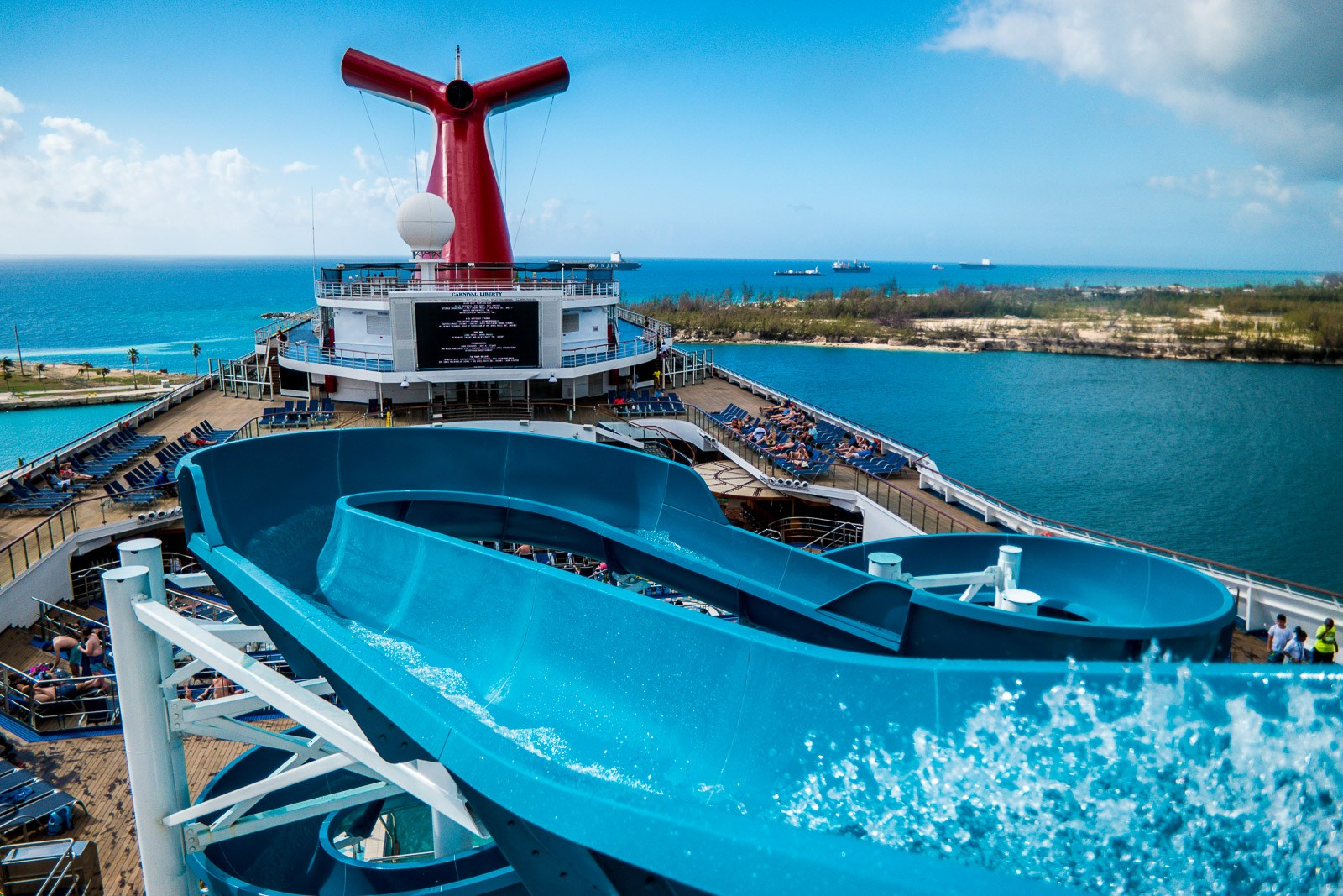 "Carnival Liberty Review - Outside Deck ""Twister"" Water Slide"