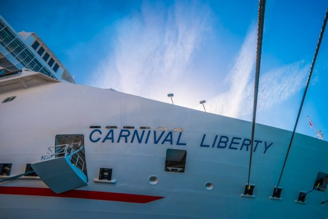 Carnival Liberty Review - A view of the Carnival Liberty ship in port.