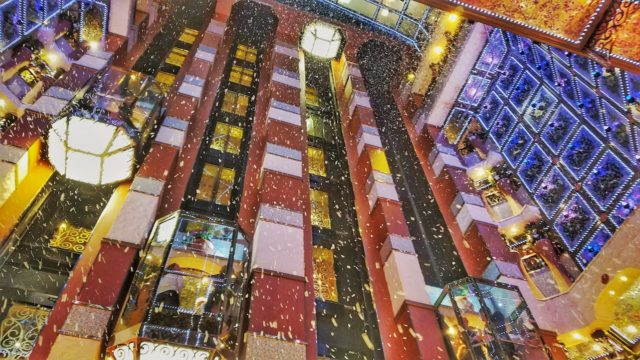 Carnival Liberty Review - Snow Falling in the Main Lobby