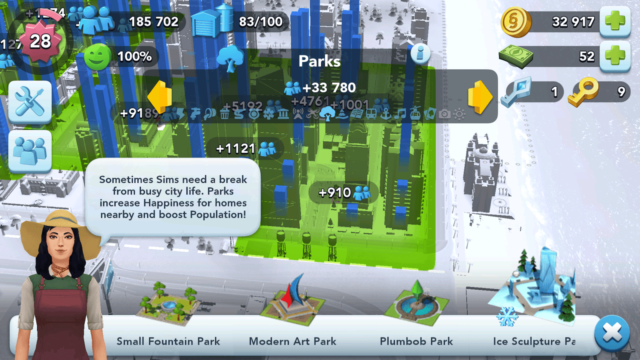 SimCity BuildIt Parks