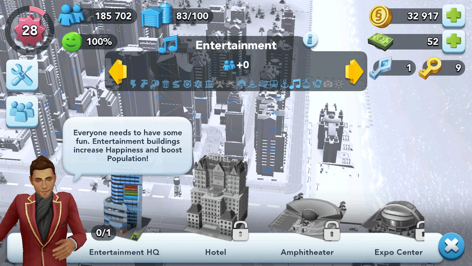SimCity BuildIt Entertainment Buildings