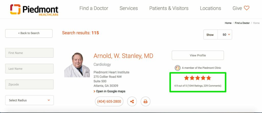 Piedmont Healthcare Physician Ratings