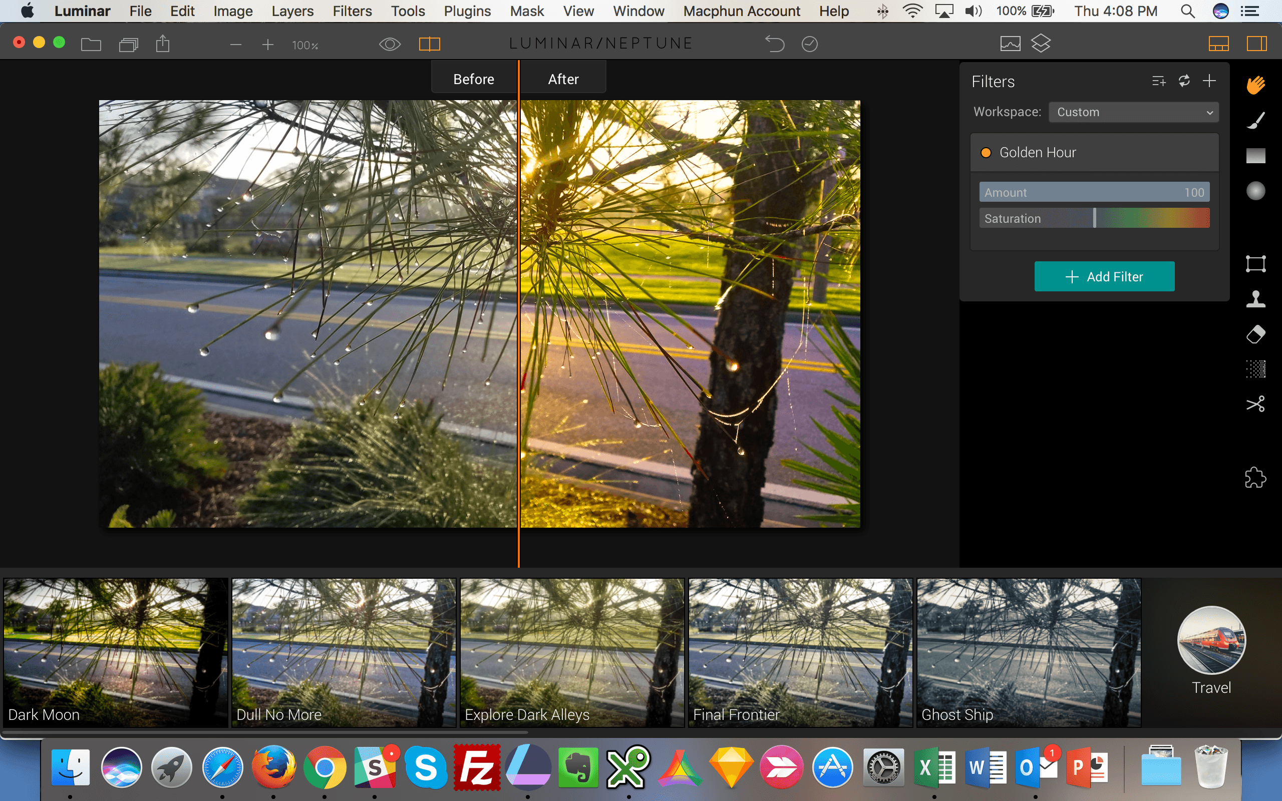 Luminar Before and After - Golden Hour Filter