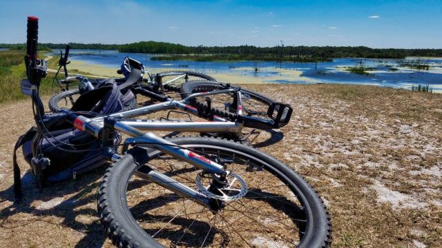 Orlando Wetlands Park Review - Mountain Bikes on Top of Oyler Overlook