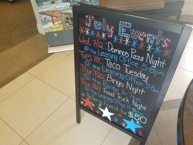 Colonial Grand Randal Lakes - July Events Sign