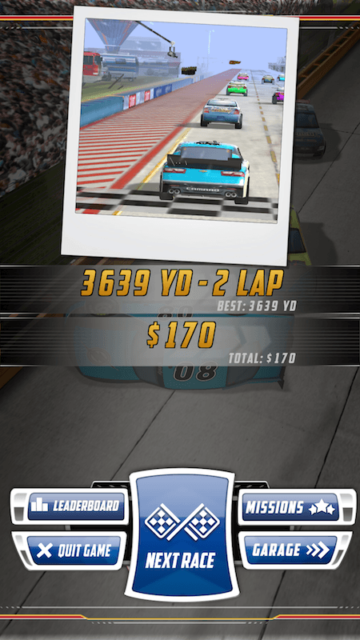 I won! NASCAR Acceleration Nation App