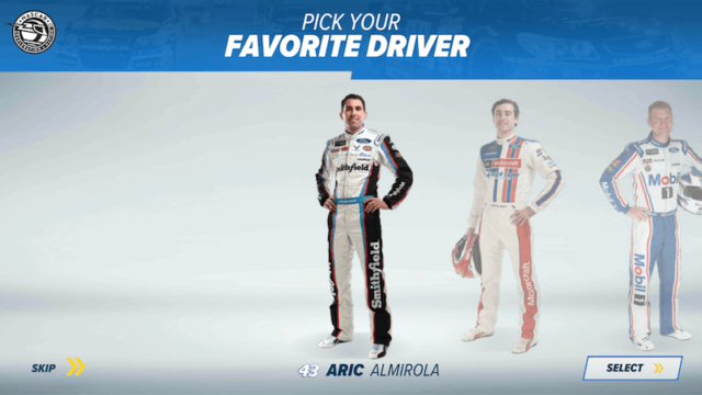 Choose Your Favorite Driver - NASCAR Acceleration Nation App