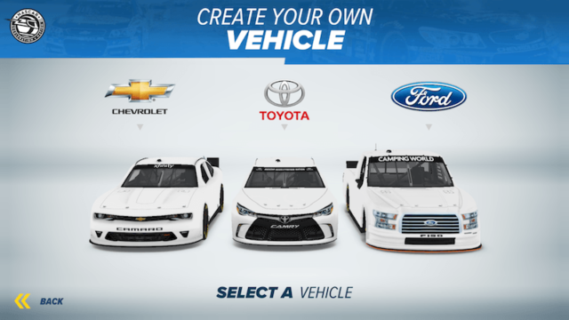 Choose Chevy, Toyota or Ford in NASCAR Acceleration Nation App