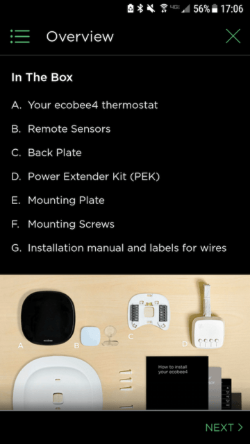 What's in the box - Ecobee Mobile App Install Steps - Ecobee4 Review