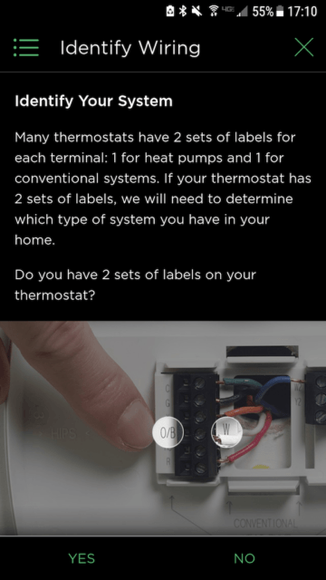 Identify your system example - Ecobee Mobile App Install Steps - Ecobee4 Review