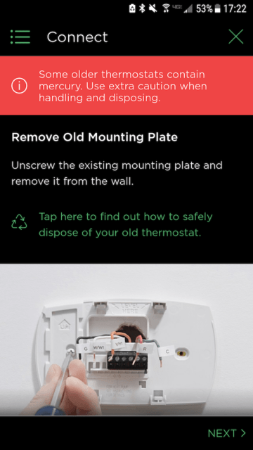 Remove old mounting plate - Ecobee Mobile App Install Steps - Ecobee4 Review
