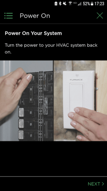 Turn the power to your HVAC system on - Ecobee Mobile App Install Steps - Ecobee4 Review
