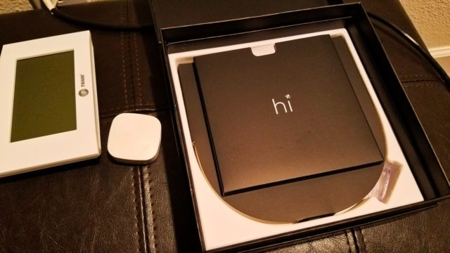 """Ecobee4 """"Hi"""" Unboxing Next to Trane Thermostat for Install - WiFi Alexa Thermostat - Ecobee4 Review"""