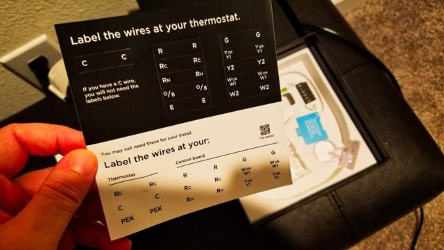 Ecobee4 Label Sheet for Install - WiFi Alexa Thermostat - Ecobee4 Review