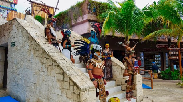 Puerto Costa Maya - Costumed performers on the steps to the temple.