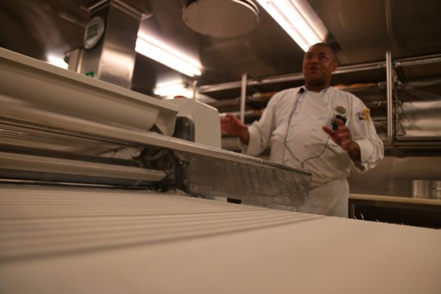 Behind the Scenes Ship Tour - Chef Wong Explains Bakery Pizza Process