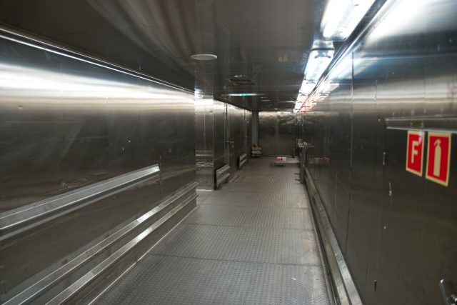 Behind the Scenes Ship Tour - stainless steel hallway walls