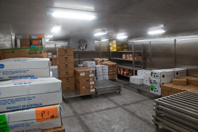 """Behind the Scenes Ship Tour - Cold storage area """"product of Australia"""""""