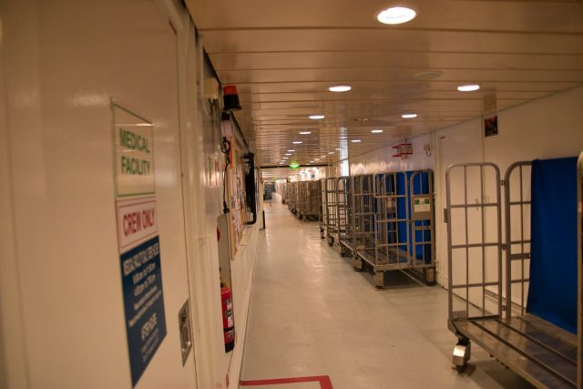 """Behind the Scenes Ship Tour - """"I-95"""" waiting for luggage for return to port"""