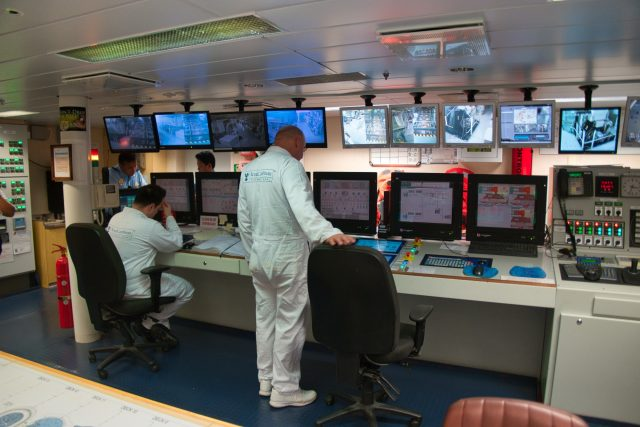 Behind the Scenes Ship Tour - Engine control room monitoring the engine systems