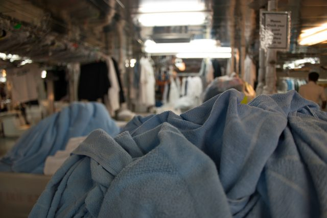 Behind the Scenes Ship Tour - Piles of clean deck towels.