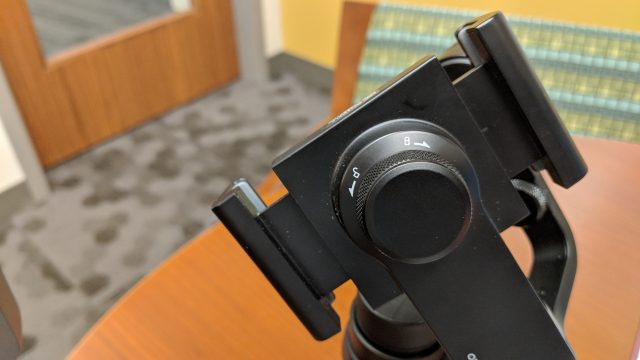 DJI Osmo Mobile phone attachment dial tightens the phone to the gimbal