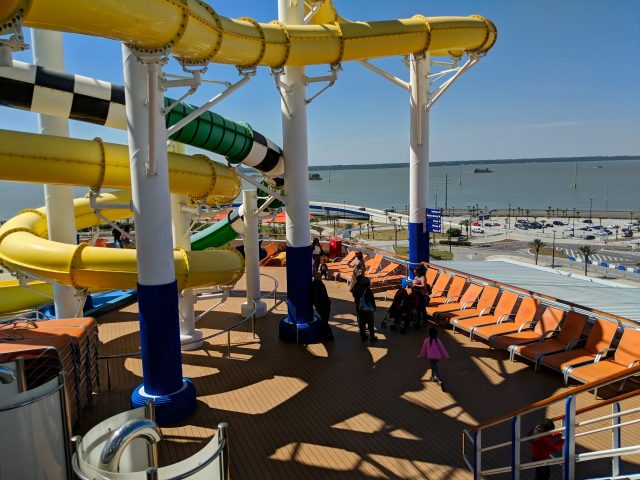 Back of the ship in Port Canaveral aboard the Carnival Sunshine Ship
