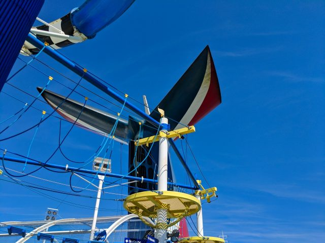 Ropes course and whale tail smoke stack on the Carnival Sunshine Ship