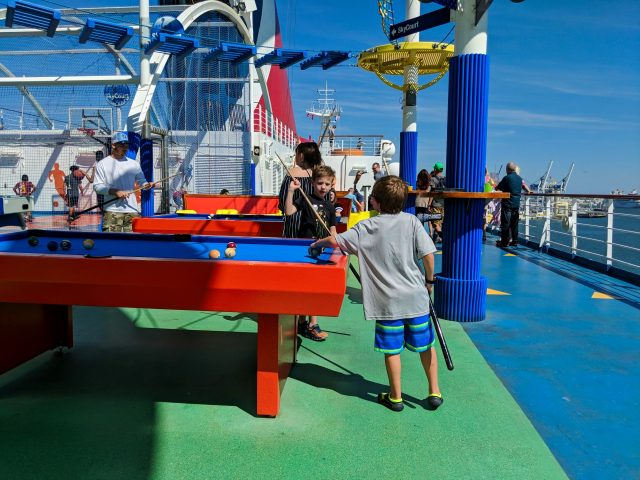 SportSquare kids playing billiards on the Carnival Sunshine Ship