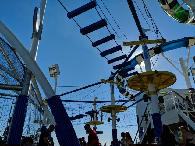 Looking up at SkyCourse - ropes course on the Carnival Sunshine Ship