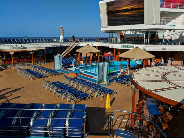 An empty pool deck on the Carnival Sunshine Ship
