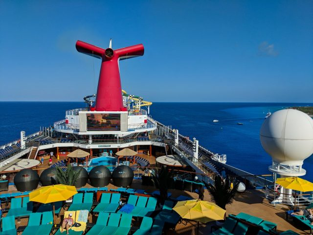 Top of the Carnival Sunshine ship while in port at Grand Turk