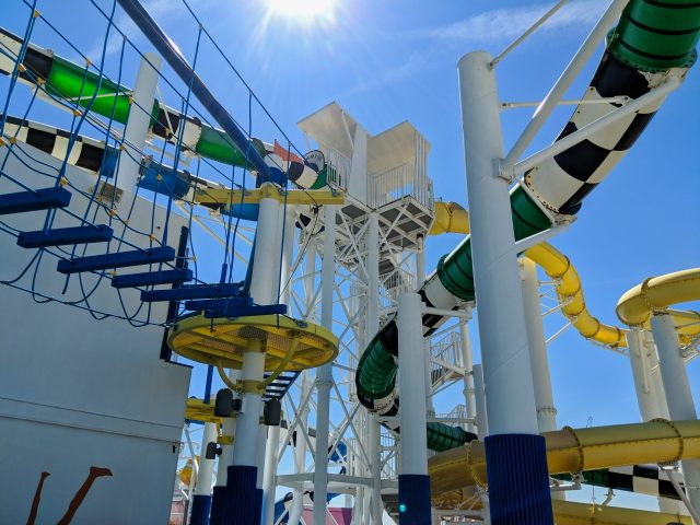 Looking up at the water slide tower on the Carnival Sunshine Ship