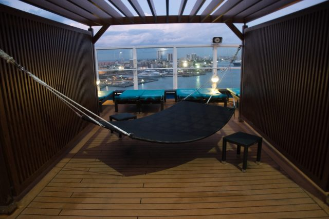 A relaxing hammock on Serenity Deck on board the Carnival Sunshine Spring 2018