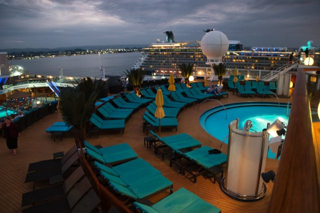 Serenity Deck at night in port at San Juan - Carnival Sunshine