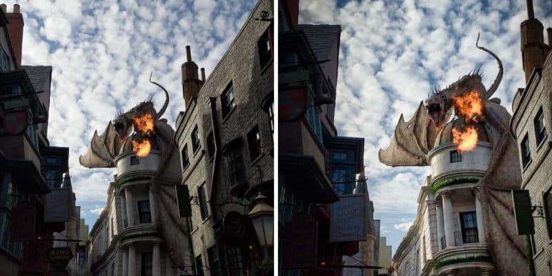 Luminar Before After Edit - Universal Studios Dragon Fire