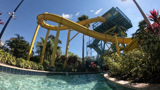 The Grove Resort Orlando Review - Surfari Water Park - View of the slides from the lazy river