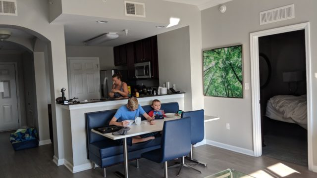 My family enjoying breakfast in our suite at The Grove Resort Orlando