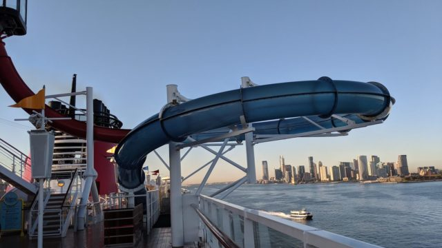 Disney Magic Slide with NYC as the Backdrop