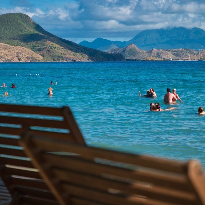 South Friars Bay Beach with a view of Nevis - St Kitts British Virgin Islands